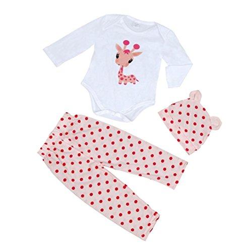 Mono bebé Amlaiworld Recién Bebé Niños niñas Sombrero + mameluco + pantalón juego conjunto (0-6 Mes, Rosa)
