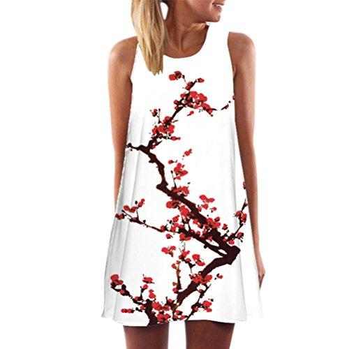 MRULIC Freizeitkleider Damen Mini A-Linie Kleider Elegant Partykleider Chinesisches Klassisches Kleid mit Rosen und Pflaumenblüten