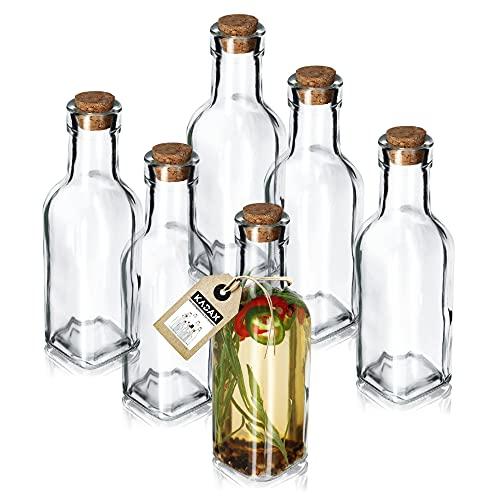 KADAX Set di 6 bottiglie di vetro trasparente con tappo in sughero, caraffa per olio, in vetro, per olio, aceto (175 ml, 6 pezzi)