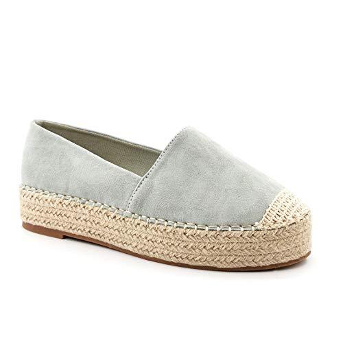 Angkorly - Damen Schuhe Espadrille - Slip-on - Strand - Böhmen - mit Stroh - Wildleder - Fertig Steppnähte Blockabsatz 3 cm - Grüne 4 QQ-331 T 36