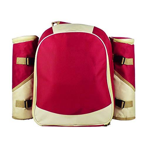 Picknickrucksack in Rot für 4 Personen komplett mit Zubehör - Das Ideale Geschenk Zum Geburtstag, Hochzeit, Pensionierung