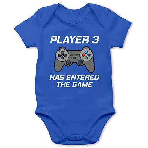 Zur Geburt - Player 3 Has Entered The Game Controller grau - 3/6 Monate - Royalblau - Controller Baby - BZ10 - Baby Body Kurzarm für Jungen und Mädchen