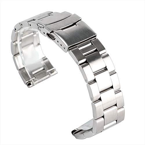 XIN NA RUI Watch Strap Reloj Pulsera De Acero Inoxidable Sólido Correas De Reloj De Pulsera De Plata De La Correa De 20 Mm 22 Milímetros Corchete De Las Barras 2 Sring (Color : 20mm)