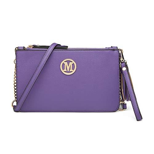 Miss Lulu Clutches LG6804 in 3 Fächer Schultertasche Umhängetasche Handtasche Geldbörse Mode M Logo Quaste (Violett)
