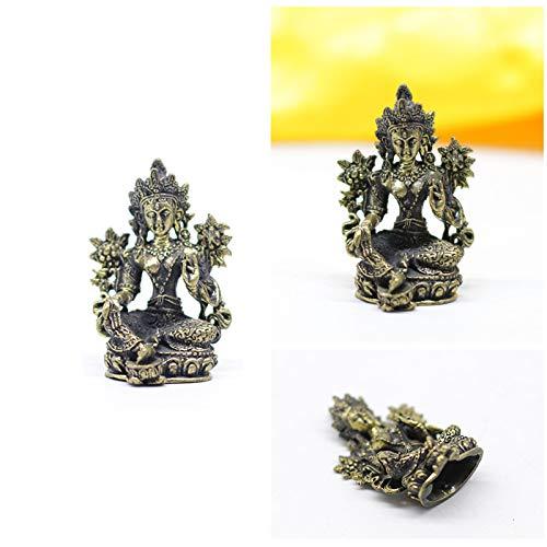 Gandhanra 13 tipos de figuras de Buda tántrico tibetano de 5 cm, talladas a mano en Nepal, aspecto de latón antiguo, amuleto de la colección superior, decoración del hogar (tara verde)