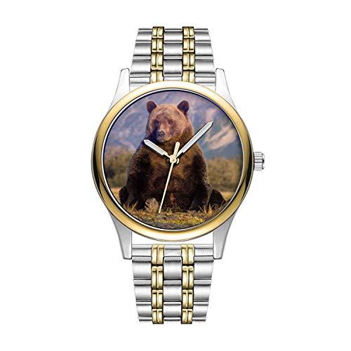 Personalisierte Minimalistische Braunbär, Ursus arctos, Grizzlybär, Ursus Armbanduhren Goldene Fashion wasserdichte Sportuhr