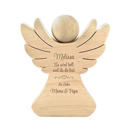 Casa Vivente Holzengel mit Gravur zur Geburt, Personalisiert mit Namen, Engel aus Erlenholz, Verpackung für Geldgeschenke, Geschenkideen für Babys