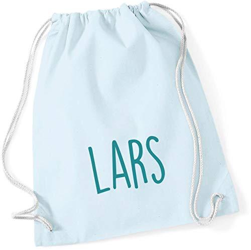 personalisierter Turnbeutel mit Namensdruck zum Zuziehen | Bedruckt mit Namen für Jungen & Mädchen | Zuziehbeutel Stoffbeutel in vielen Farben (Pastellblau)