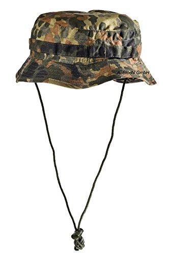 Outdoor Angelhut aus Rip Stop Fischerhut mit Außentäschchen Hat Schlapphut in vielen Farben und Größen (L, Flecktarn (Typ II))