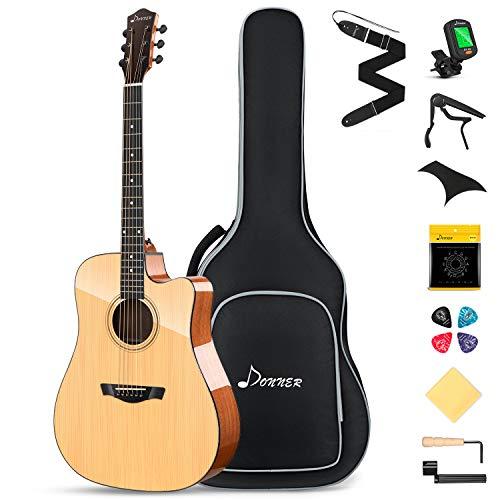 Donner Guitarra Acústica 4/4 Adulto Kit Guitarra Folk Cutaway Principiante 41 pulgadas Madera Maciza con Bolsa Afinador Correa Cuerdas Capo Natural