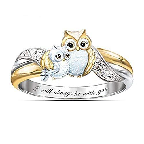 Anillo de plata de ley 925 con diseño de búho, anillo de cristal para padres e hijos, anillo de mujer con forma de animal, 8