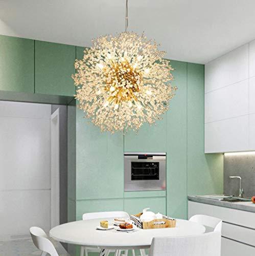 YDZB Luces colgantes de cristal LED Lámpara de mesa de comedor de diente de león Dormitorio de niñas Lámpara de techo romántica Sala de estar dorada Iluminación interior (9 llama)