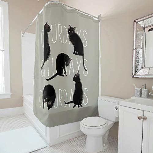 LAOAYI Samstags Schwarze Katze Bedruckt Duschvorhang Modern Farbfest Vorhang Badewannenvorhang mit inkl Duschvorhangringen 180x200cm White 120x200cm