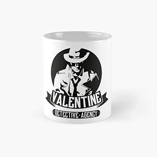 Taza clásica de Valentine Detective Agency con el mejor regalo divertido tazas de café de 11 onzas