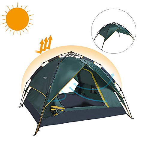 Camping Draw Rope Tent 3-4 Person Double Layer Waterproof Pop Up Quick Setup Family Outdoor Tents UV Protection with Carry Bag