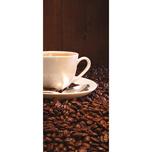 Tür Fototapete Türtapete 91x211 cm Türfolie selbstklebend o. Vlies PREMIUM PLUS - Tür Türposter Türpanel Foto Tapete Bild - Kaffeetasse Kaffeebohnen - no. 866, Material:91x211cm Vlies