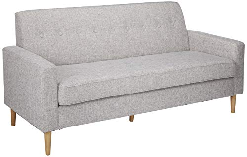 Christopher Knight Home Sawyer Mid-Century Modern Fabric 3-Seater Sofa, Light Grey Tweed / Natural