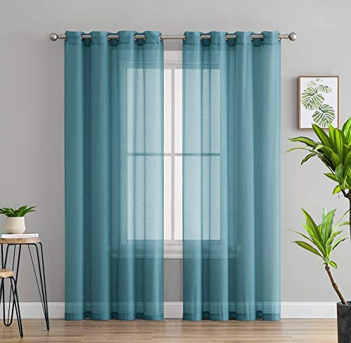 HLC.ME 2 Piece Semi Sheer Voile Window Curtain Grommet Panels for Bedroom & Living Room (54' W x 84' L, Aqua Blue (Teal))