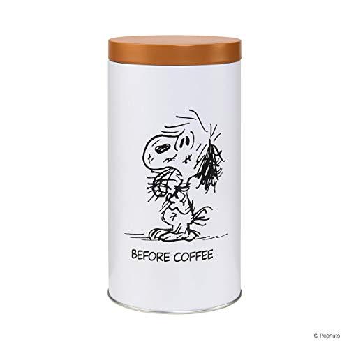 BUTLERS Peanuts Dose Ø10,6 cm mit Comic Design - Weiße Vorratsdose aus Metall - Kaffeedose mit Deckel, Aufbewahrungsdose