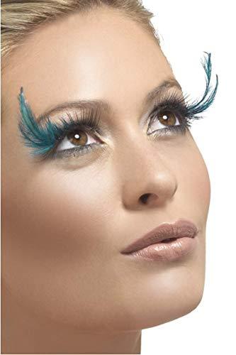 Fancy Me MUJER NEGRO LARGO/turquesa Pluma Pestañas Burlesque Drag Queen Disfraz Halloween Accesorio