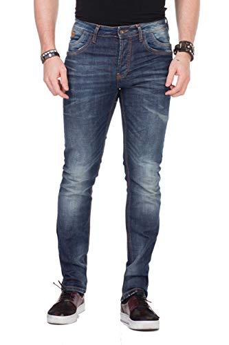 CIPO & BAXX Herren Jeans Clubwear Denim Hose CD186A Slimfit Biker CD186A BLUE W28 L32