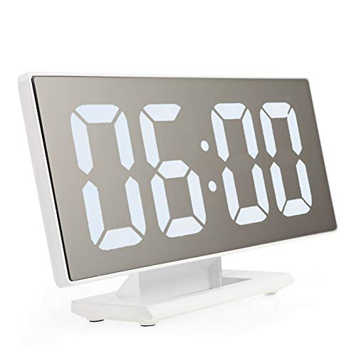 XLZZLDZ Wecker Digitaler Wecker LED-Spiegeluhr Multifunktions-Schlummeranzeige Uhrzeit Nacht LCD-Leuchttisch Desktop-Gerät USB-Kabel,...