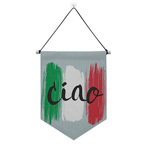 ZZAEO Ciao Italian Flag Door Sign, Home Festival Wall Decoration Door Decor Hanging Banner for Indoor Outdoor Porch Yard
