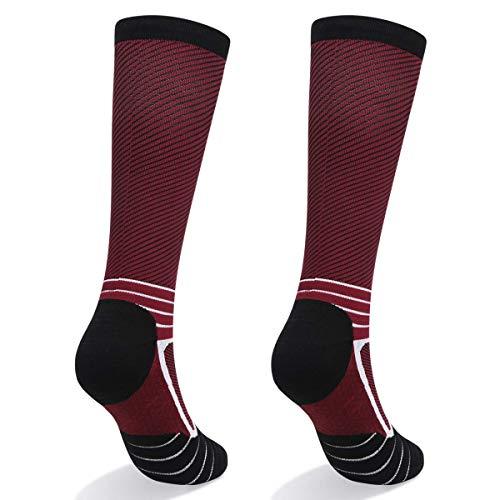 Abida 2 Pairs Compression Socks for Women & Men 15-22 mmHg Knee Hight Socks for Athletic Sports,Running, Flight, Travel Athletic Fit