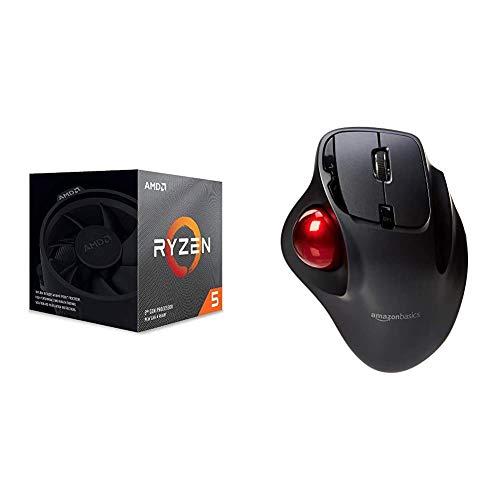 AMD Ryzen 5 3600X, Processore PC, 6 core, 12 thread, 4,4 GHz, Socket AM4 & AmazonBasics Mouse con trackball, wireless