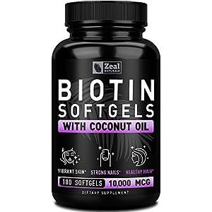 Pure Biotin 10000mcg + Organic Coconut Oil (180 Softgels | 10,000mcg) 6 Month Supply Biotin Supplement for Hair Growth + Skin and Nail Growth – Biotin Pills Hair Nails and Skin Vitamins for Women &Men