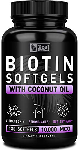Biotin with Coconut Oil for Hair 10000mcg (180 Softgels) Biotin Supplement - Biotin Pills for Hair Skin and Nails Vitamins for Women Biotin Capsules for Men Hair Growth 6 mo Supply