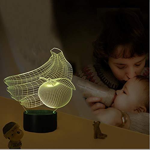 Kreative Kinder Nachttischlampe Obst Modellierung 3D Stereo LED Touch-Schalter Nachtlicht, gelber Bananenapfel