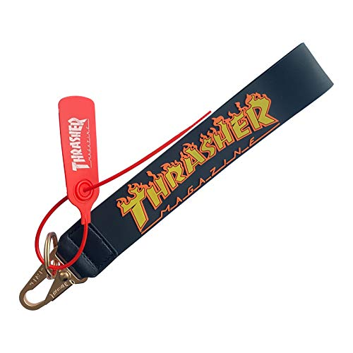 THRASHER Clear Wristlet Keychain Rubber Phone Strap Classic Office Badge Lanyard Fashion Waist Decor Lanyard Industrial Belt Yellow Letter Keychain Holder (Black)