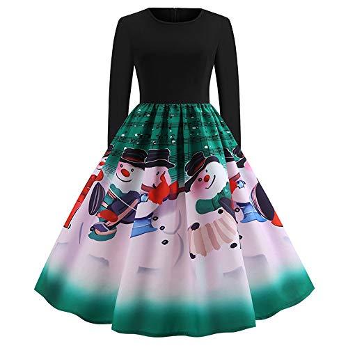 Weihnachten Damen Kleider Festlich Cocktailkleid Abendkleid Spitzenkleid Frauen Bedrucktes Kleid...
