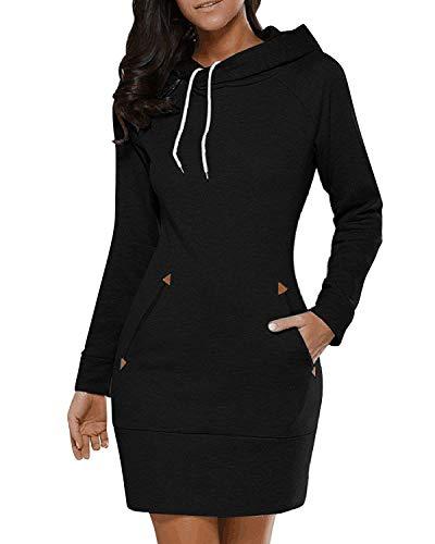 VONDA Damen Hoodie Kleid Elegant Oversized Pullover Winter Langarm Sweatshirts Kapuzenpullover Tops Mini Kleid 1A-Schwarz XL