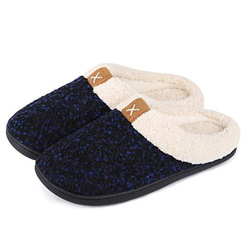 VeraCosy Komfortable Herren Memory Foam Hausschuhe, wollähnliche Plüschflausch gefütterte Pantoffeln mit Gummisohle für Drinnen und DraußenGr.42/43 EU-Königsblau