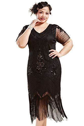 BABEYOND Plus Size 1920s Art Deco Fringed Sequin Dress Flapper Gatsby Costume Dress (Black, XX-Large)