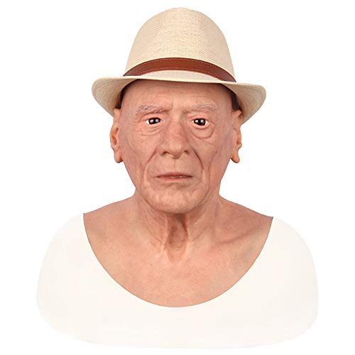NADAENMJ Halloween Oude Man Masker Sexy Baard Siliconen Crossdresser Masquerade Vrouwelijke Hoofd Handgemaakte Make-up Transgender Volwassen Maskers voor Halloween