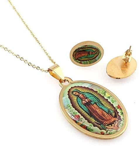 Collar católico ovalado de Christia para juego de collar con colgante de acero inoxidable 316L dorado