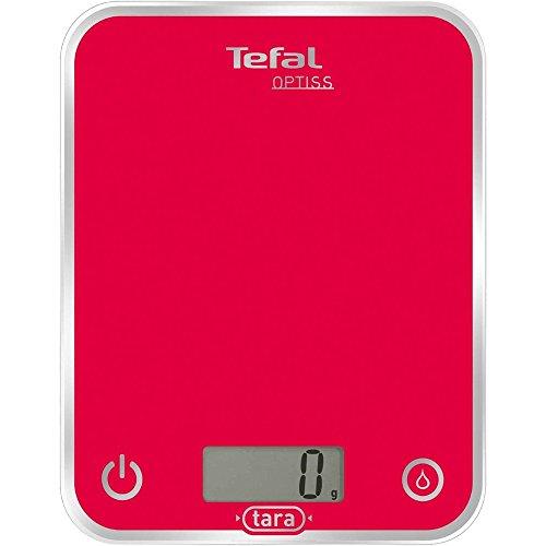 Tefal Optiss-Báscula de Cocina, Color Rojo, Cristal esmalta