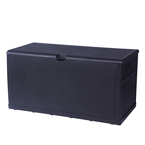 Patio Deck Box Storage Container Outdoor Rattan Style Plastic Storage Cabinet Bench Box, Lockable,Large Capacity 120-Gallon