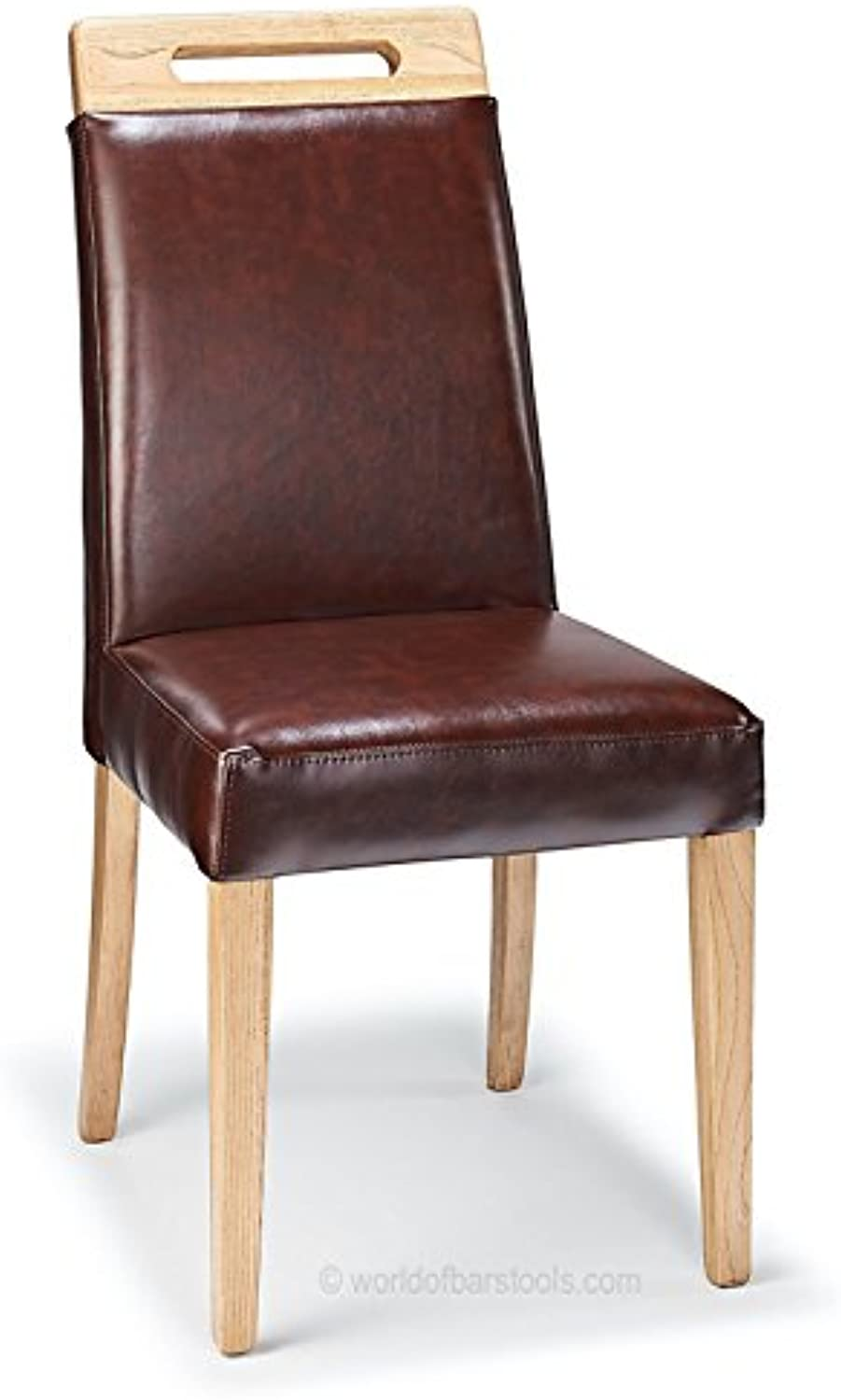 Bar Stools UK Modena Dining Chair Antique Brown Leather & Rustic Oak