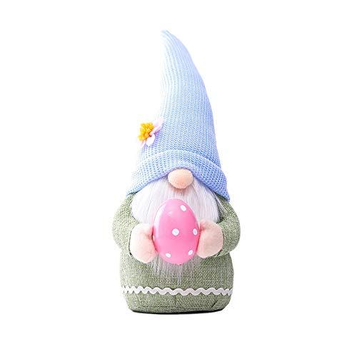 XQXC Rudolph doll pink ears plaid rabbit dwarf doll, handmade, elf doll ornaments and home decoration items (Blue)