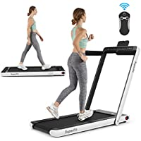 Goplus 2-In-1 Folding Treadmill With Dual Display (White)