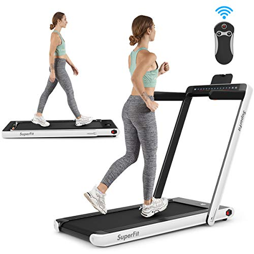 Goplus 2 in 1 Folding Treadmill with Dual Display, 2.25HP Under Desk Electric Pad Treadmill, Bluetooth Speaker, Remote Control, Walking Jogging Machine for Home/Office Use (White)