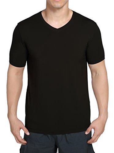 worboo - Camiseta de bambú para hombre, transpirable, suave, liso, cuello en V, S, Negro