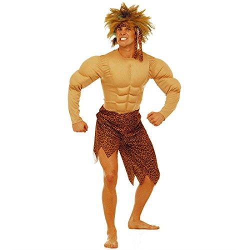 NET TOYS Kostüm Tarzan Jungelman Dschungelkostüm Steinzeit Urwald Muskelkostüm für Herren Karneval L 50/52
