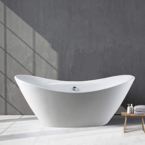 FerdY 68'' Acrylic Stand Alone Bathtub, White Modern Freestanding Bathtub Soaking Bathtub, Easy To Install, Drain and Overflow Assembly Included