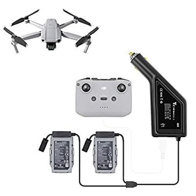 Ggoddess Mavic Air 2 Car Charger, 5V 2A Car Charger for DJI Mavic Air 2,3 Interface Charger(Dual Battery Charger + Remote Controller Charger)