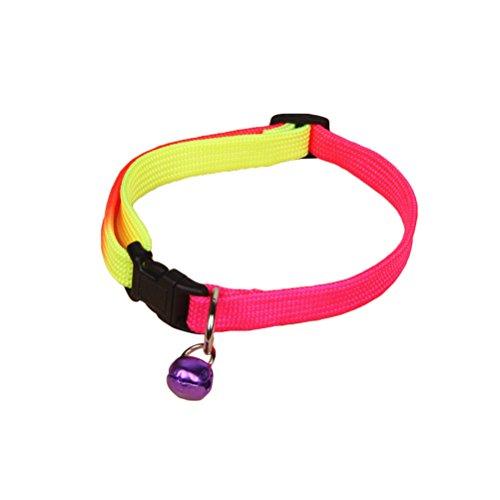 UEETEK Collar de Gato reflexivo Ajustable del Animal doméstico con la pequeña Campana para el Gatito del Perrito (Color al Azar)